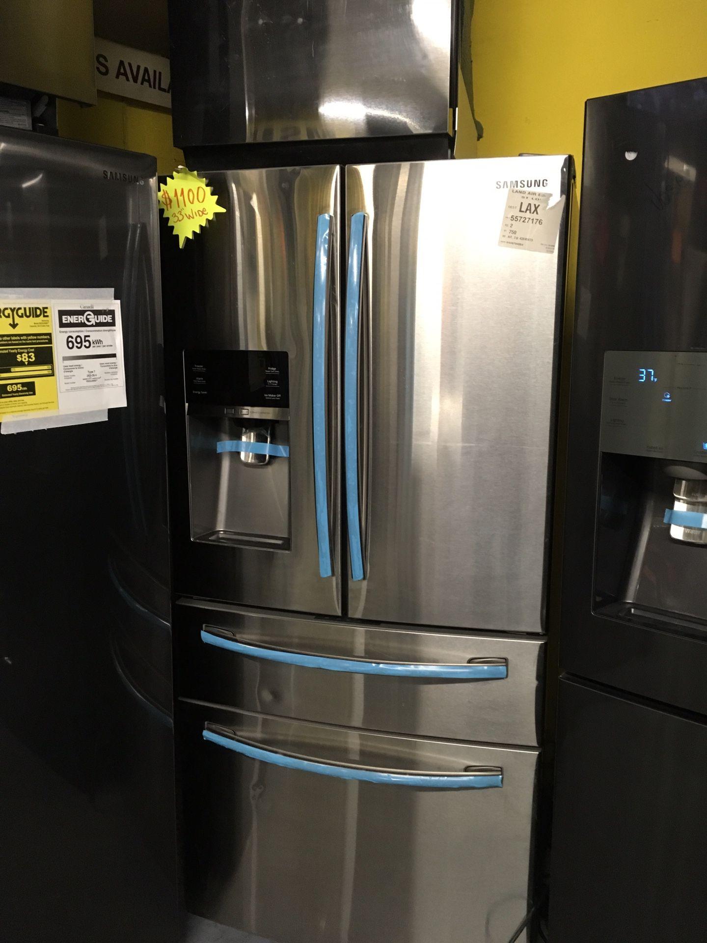 Samsung Stainless Steel 4 door wine cooler and bottom freezer