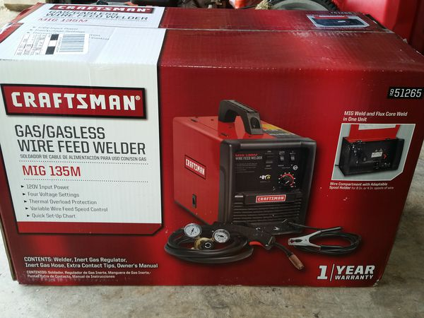 Craftsman Mig Gas/Gasless Wire Feed Welder 135M for Sale in Tomball, TX -  OfferUp