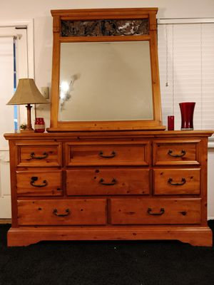"Nice wooden big dresser with mirror and 8 drawers in good condition. L66""*W18.3""*H37.5"" for Sale in Annandale, VA"