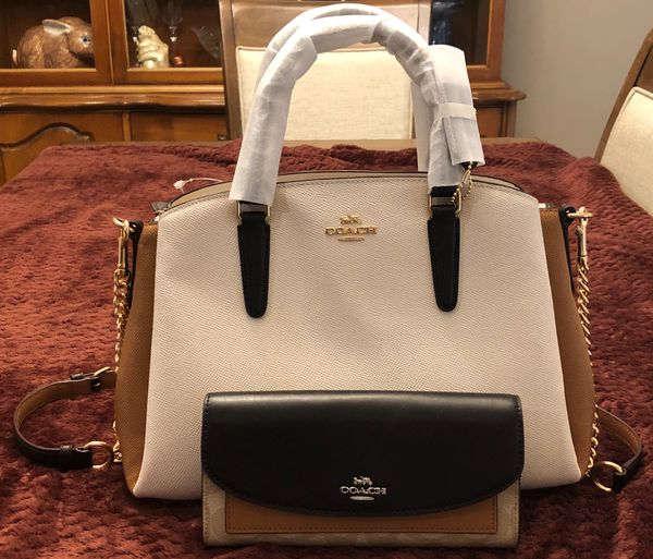 228d5ec64346 NWT COACH SAGE CARRYALL COLORBLOCK LEATHER w  NWT COACH WALLET for ...