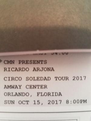 concierto Ricardo Arjona 3 entradas sección 111A for Sale in Orlando, FL