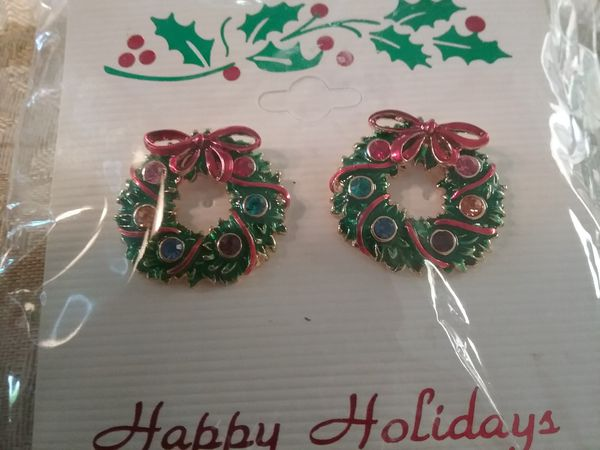 Christmas Wreath Earrings Fun Holiday Jewelry New In Packaging For