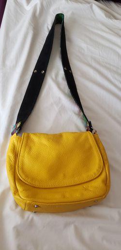 Elegante bolsa 100% piel genuina amarillo hermoso Thumbnail