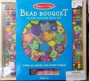 8573c8344b11 Melissa & Doug Bead Bouquet Deluxe Wooden With 220+ Beads for Jewelry  Making NIB for