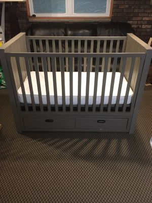 Photo Restoration Hardware Baby Haven Storage Conversion Crib w/ Mattress & Toddler Rail