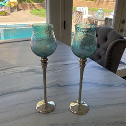 Blue Glass Tall Candle Holders Thumbnail