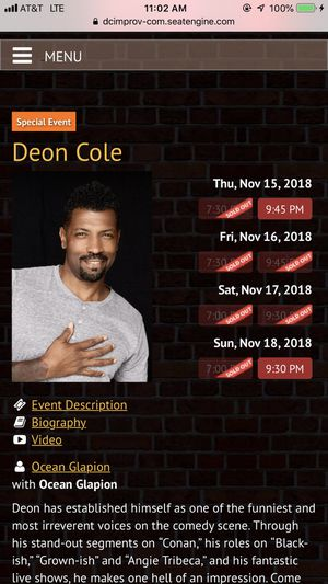 DEON COLE AT DC IMPROV 11/16 for Sale in Hyattsville, MD