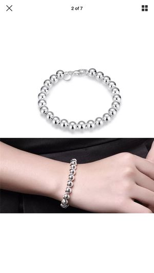 Sterling silver plated beads bracelet bangle jewelry accessory Christmas gift fashion for Sale in Silver Spring, MD