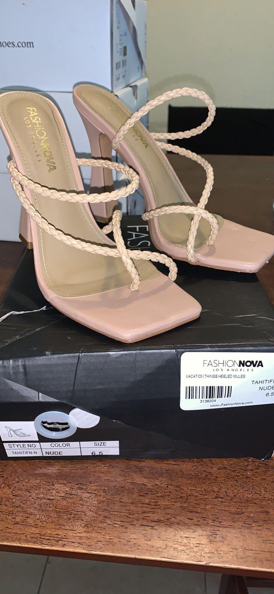 Fashion Nova Nude Open Sandal Heels