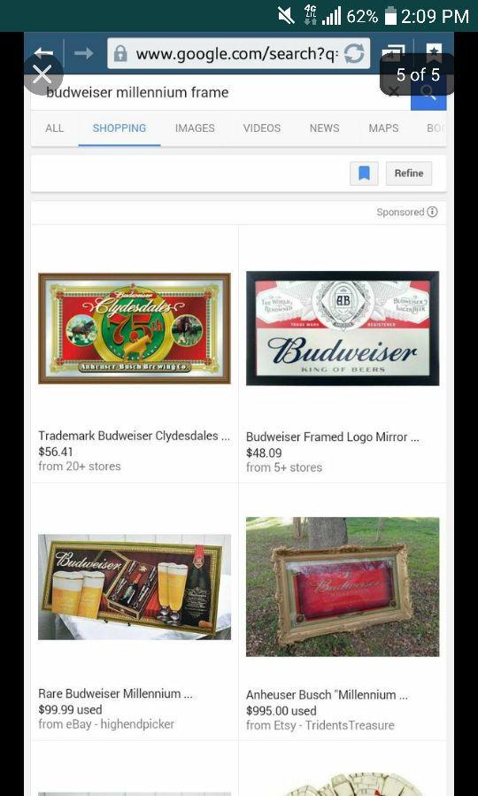 Budweiser millennium frame .. Asking for $800 or best offer for Sale ...