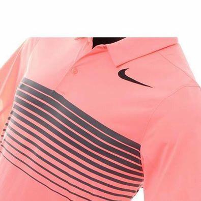 bb68fcc8 Nike Mobility Speed Stripe Men's Golf Standard Fit Golf Polo Lava Glow/Black