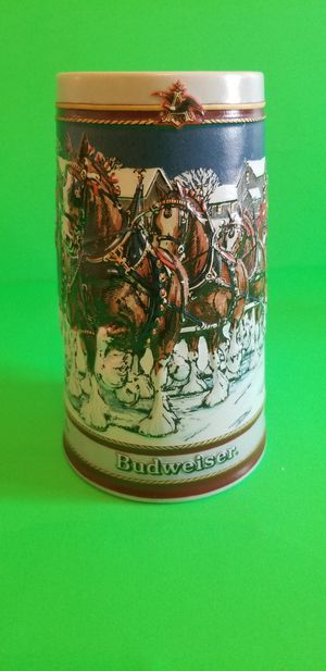Photo Vintage 1989 Budweiser Holiday Beer Stein Mug Clydesdale Collectors Series