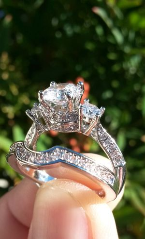 925 Silver Round Cut White Sapphire Zircon Wedding Bridal Set Ring Size 8 Stamped for Sale in Shelton, WA