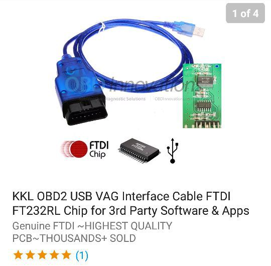 KKL OBD2 VAG USB Interface Cable with FTDI FT232RL Converter Chip for 3rd  party Software and app  for Sale in Brooklyn, NY - OfferUp