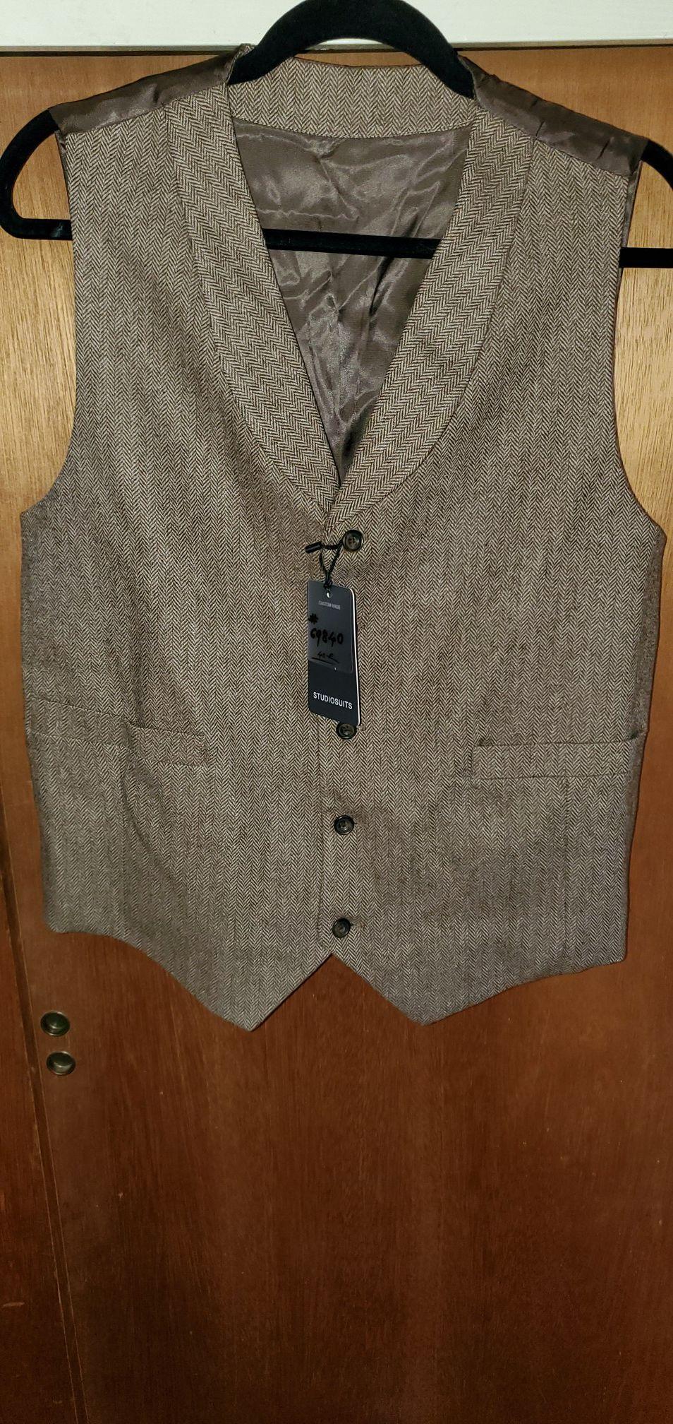 Mens bespoke tweed vest in vintage brown 40R brand new