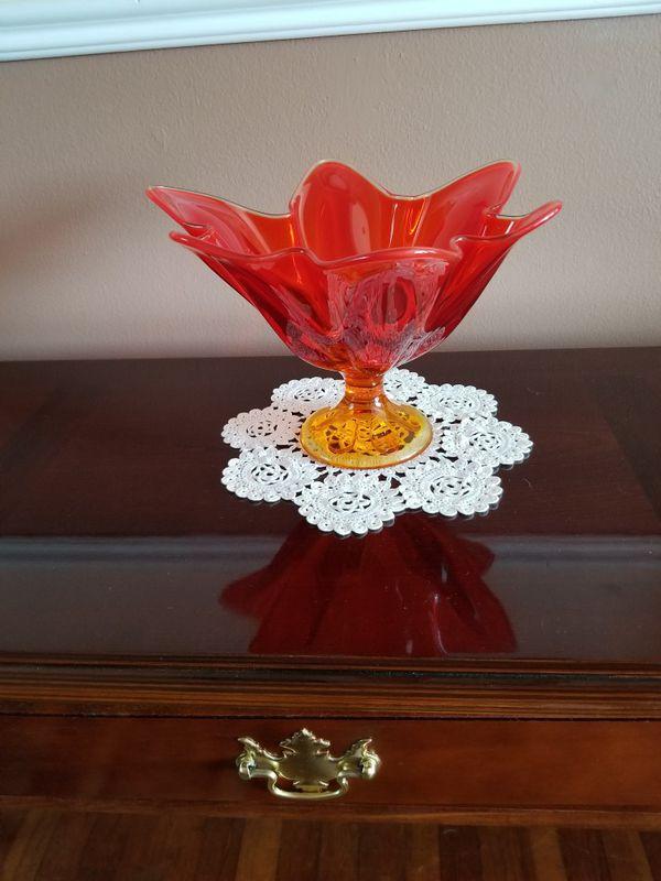 Beautiful Orange And Amber Hand Made Viking Glass Decor Piece Home