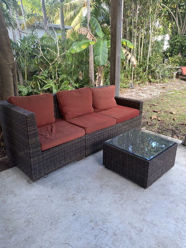 Wicker Rattan Patio Furniture Set With Couch Chair And Glass Table Cb2 Restoration Hardware West