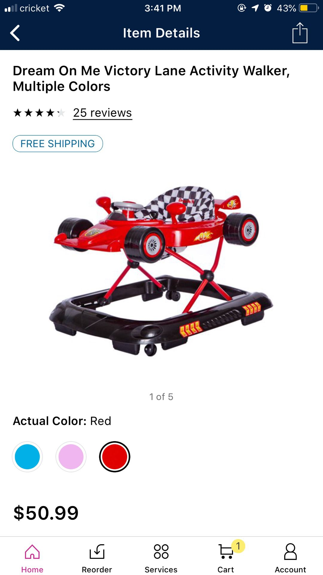 Dream on me red activity walker