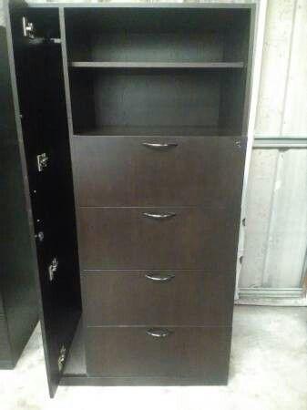 Designer 6 Ft Wood File Cabinet Bookcase Combo Mahogany Nearly Black
