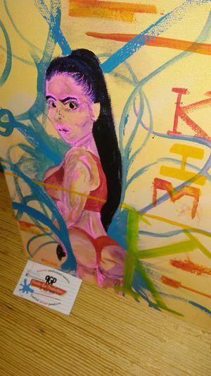 Brand new rare Kim Kardashian. Kim K original 11 x 14 canvas artwork paint @paintergus for Sale in Columbus, OH