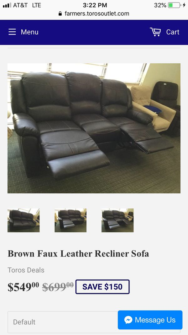 Brown Faux Leather Recliner Sofa For Sale In Dallas Tx Offerup