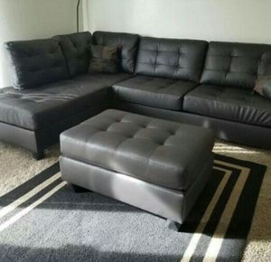 Brand New Espresso Faux Leather Sectional Sofa Couch + Ottoman for Sale in Wheaton-Glenmont, MD