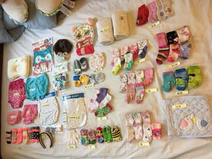 Baby Girl & Boy Clothing: socks, hair bands, training pants, bib, gloves & hats for Sale in Leesburg, VA
