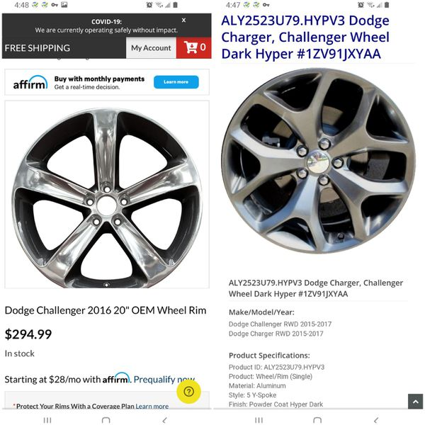 2017 & 2016 Dodge Challenger Stock Rims For Sale In