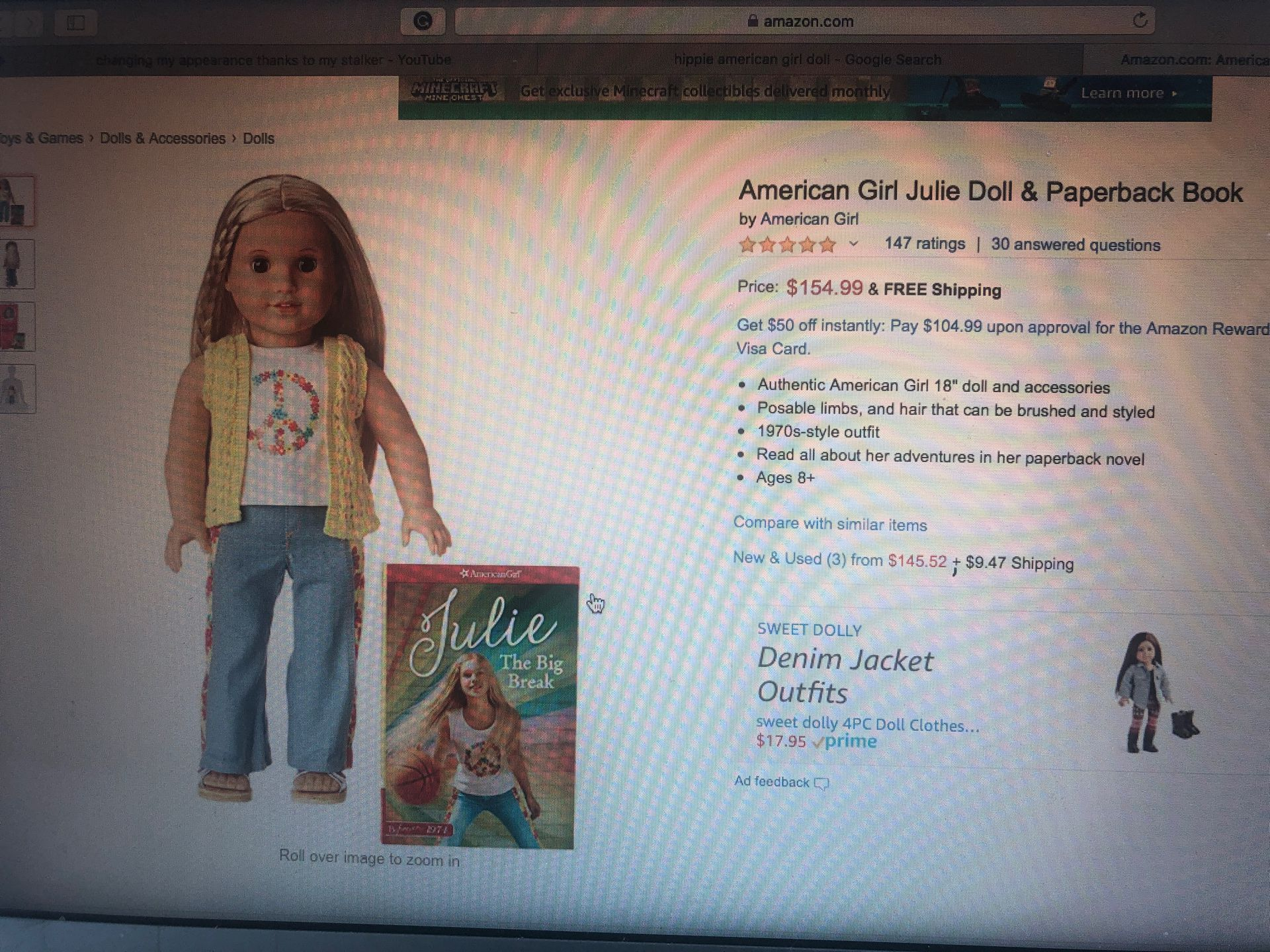 Authentic Julie American Girl doll Julie Dress and hair tie included!