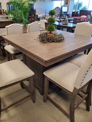Photo OVERSIZED 6PC rustic counter height dining room table and 4 chairs with bench included NIB