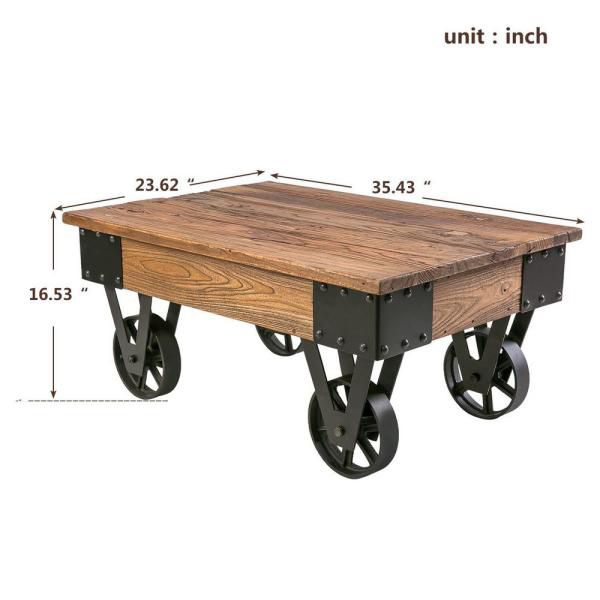 Harper & Bright - Brown/Black Medium Rectangle Wood Coffee Table with Casters