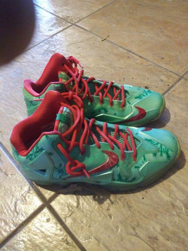 best service a67b6 9e280 Nike Lebron 11 Christmas Ed. Green Crimson Glows