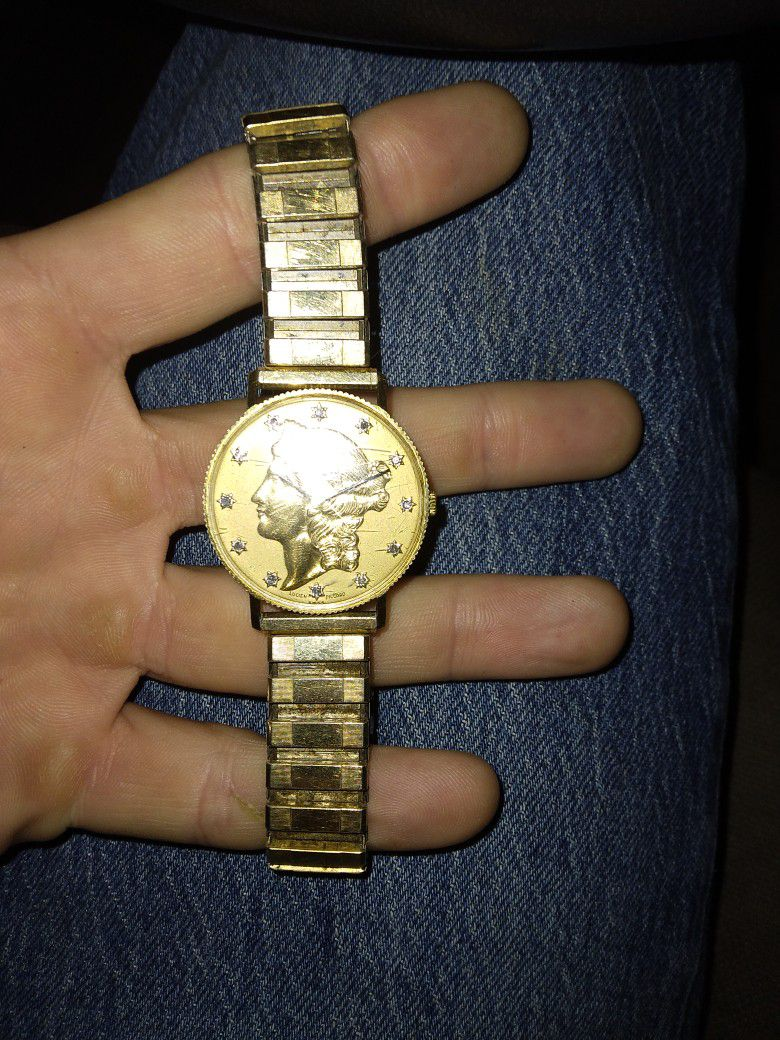 14k Gold Lucien Piccard Swiss Gold Coun With Diamonds Watch