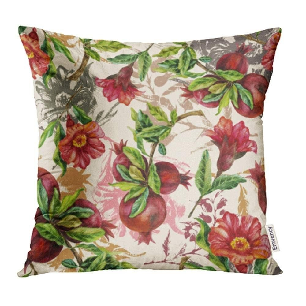 Green Maroon Watercolor Hand Painting with Pomegranate Branches Red Beautiful Pillowcase Cushion Cover 18x18 inch