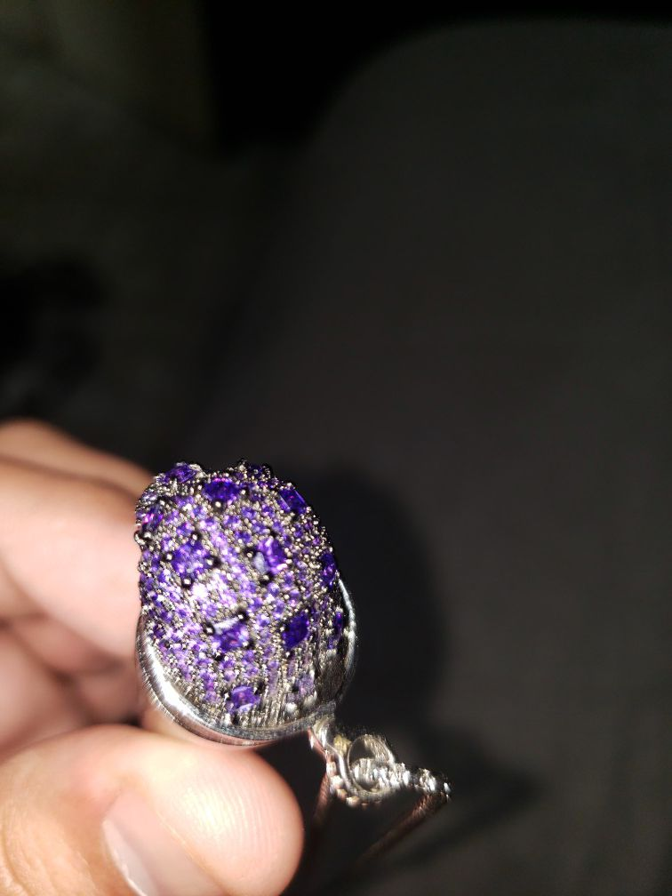 Double cup stainless steel w/purple crystals