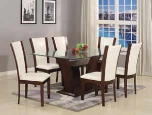 White or espresso color glass top 7-piece dining set with 6 chairs for Sale in Takoma Park, MD