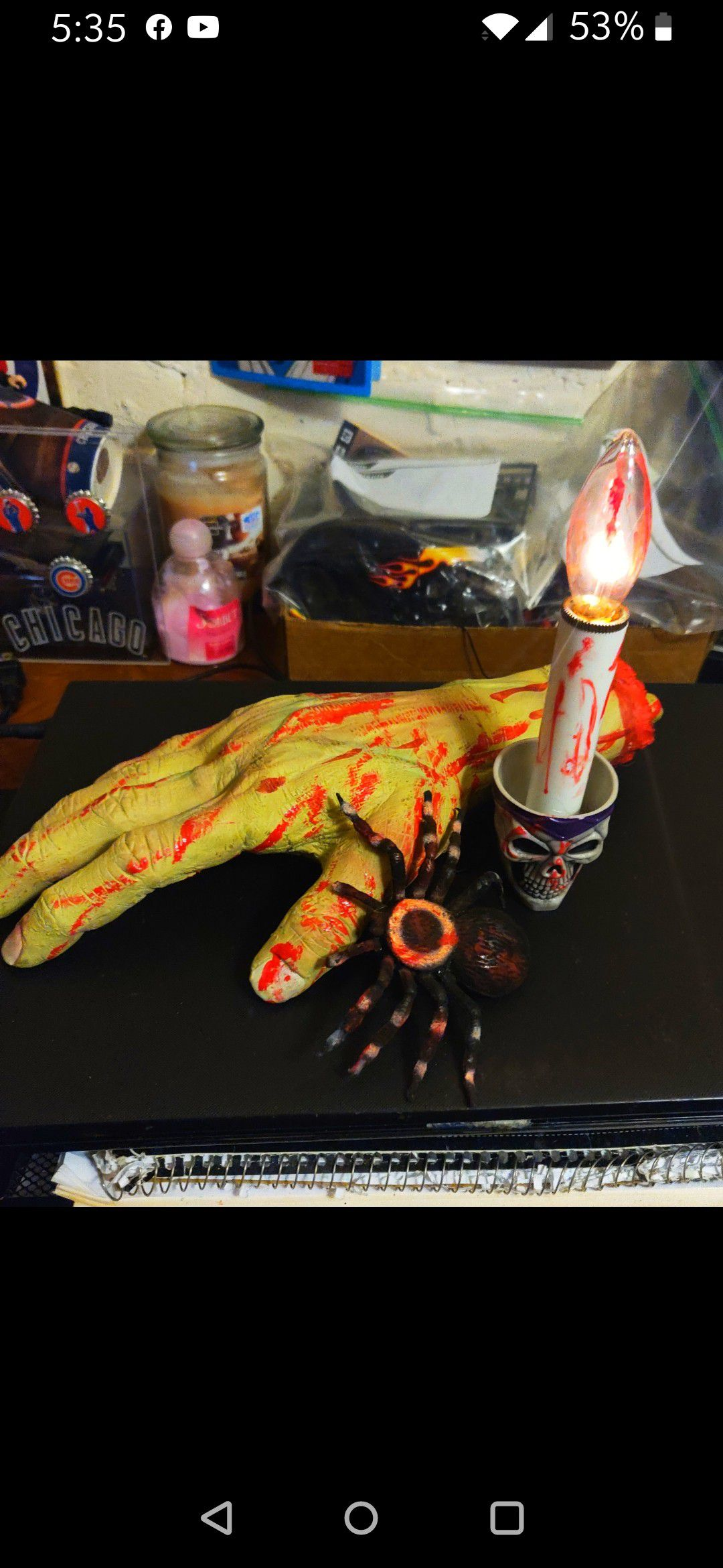 Halloween Prop: Quality Zombie hand, spider, battery candle, firm, ship available