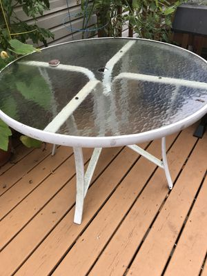 Outdoor table, glass topped for Sale in Herndon, VA