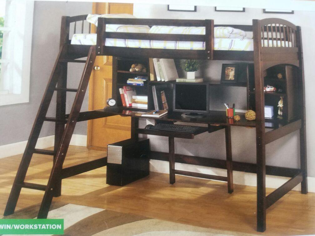 5PC-Nueva, Litera Twin, madera solida, madera Veneer, incluye los colchones Combos-en caja.