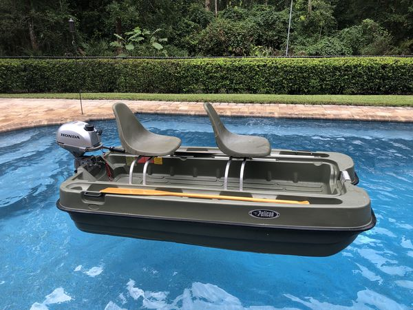 Pelican bass boat 10 feet with Honda 2 3 outboard Sale or Trade for Sale in  Jacksonville, FL - OfferUp