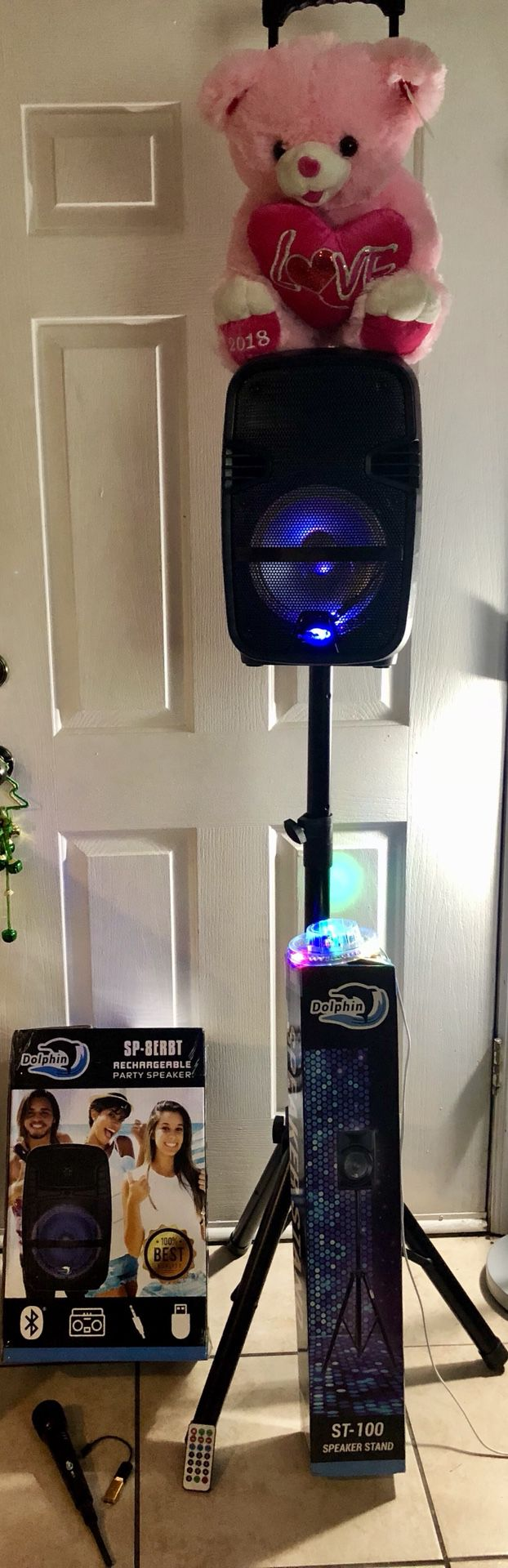 PARTY SPEAKER 🔊🎁❤️STAND ❤️🎤❤️MICRÓFONO 🎁 PARTY SPEAKER. 🎁❤️💝 BLUETOOTH RECHARGEABLE BOCINA REMOTE CONTROL WITH STAND