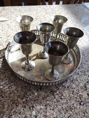 Vintage silver plate aperitif cups and tray for Sale in North Potomac, MD