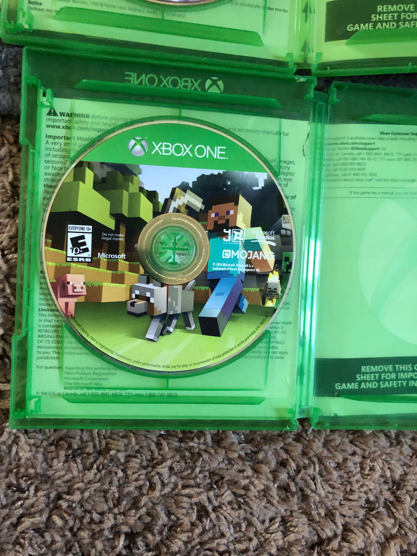 Selling Madden 15 and Minecraft. No scratches. Used. Good condition
