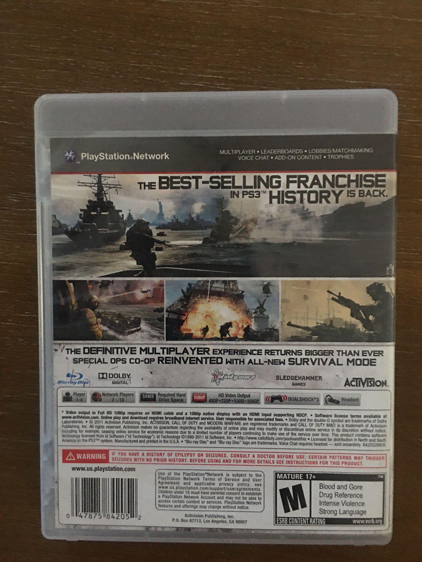 Sony PlayStation ps3 call of duty modern warfare 3