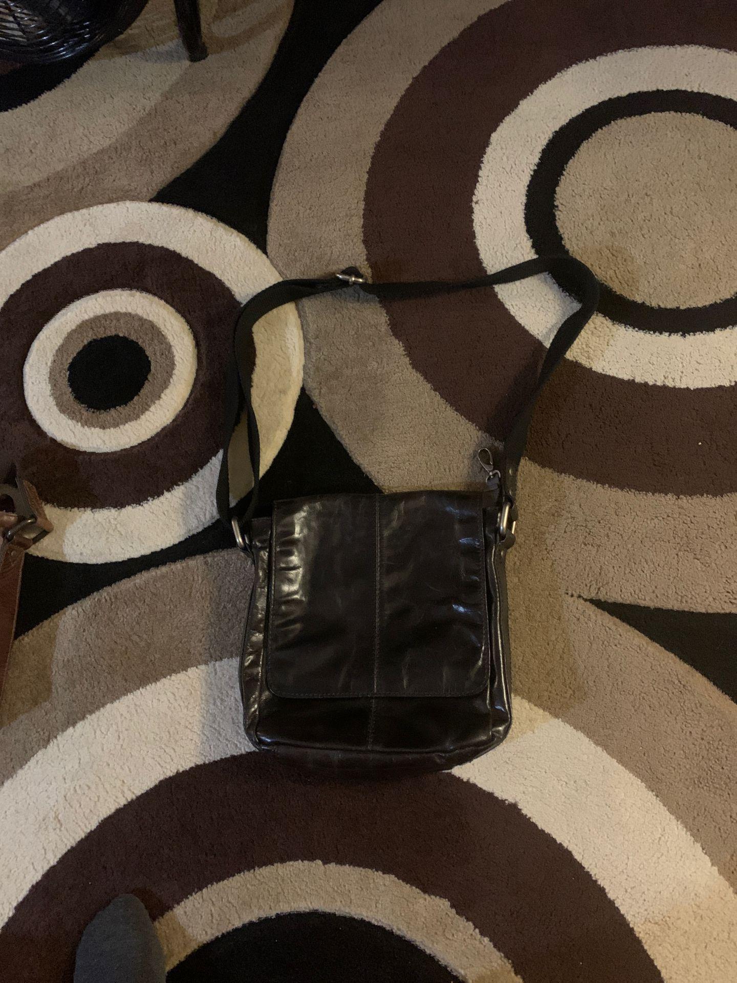 Men's black leather Fossil bag