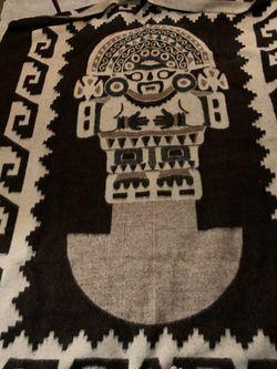 "Stunning, reversible llama bedspread, blanket or wall hanging; 72"" x 87"" from Peru Thumbnail"