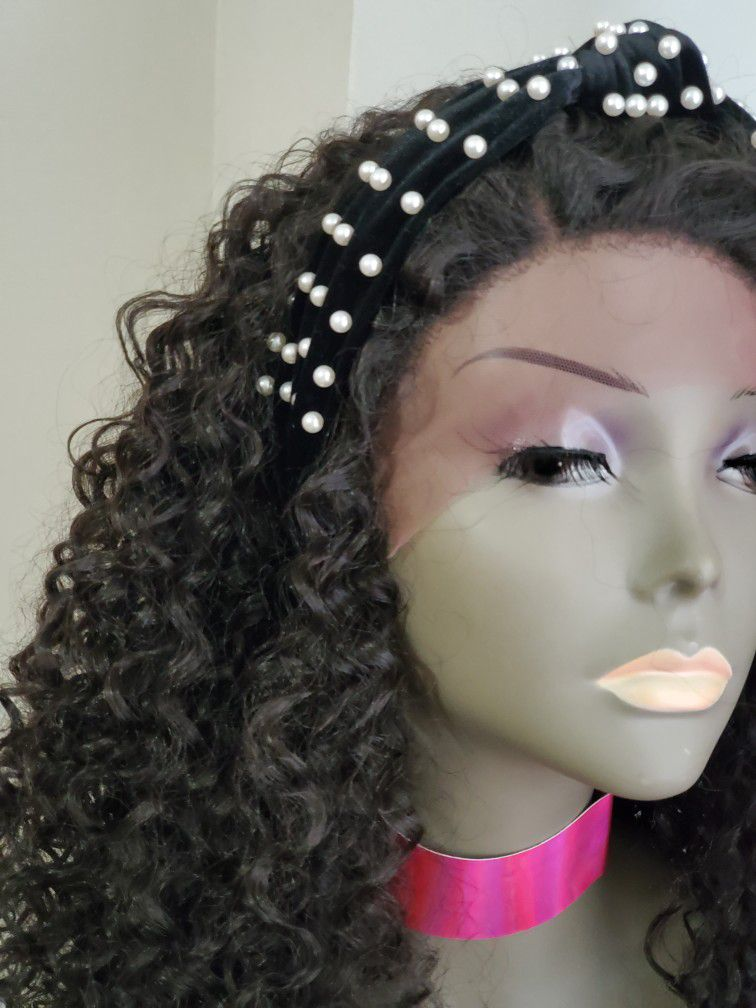 Human hair blend Lace Parting Wig