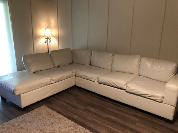 pending white leather sectional couch for sale in fresno ca offerup. Black Bedroom Furniture Sets. Home Design Ideas