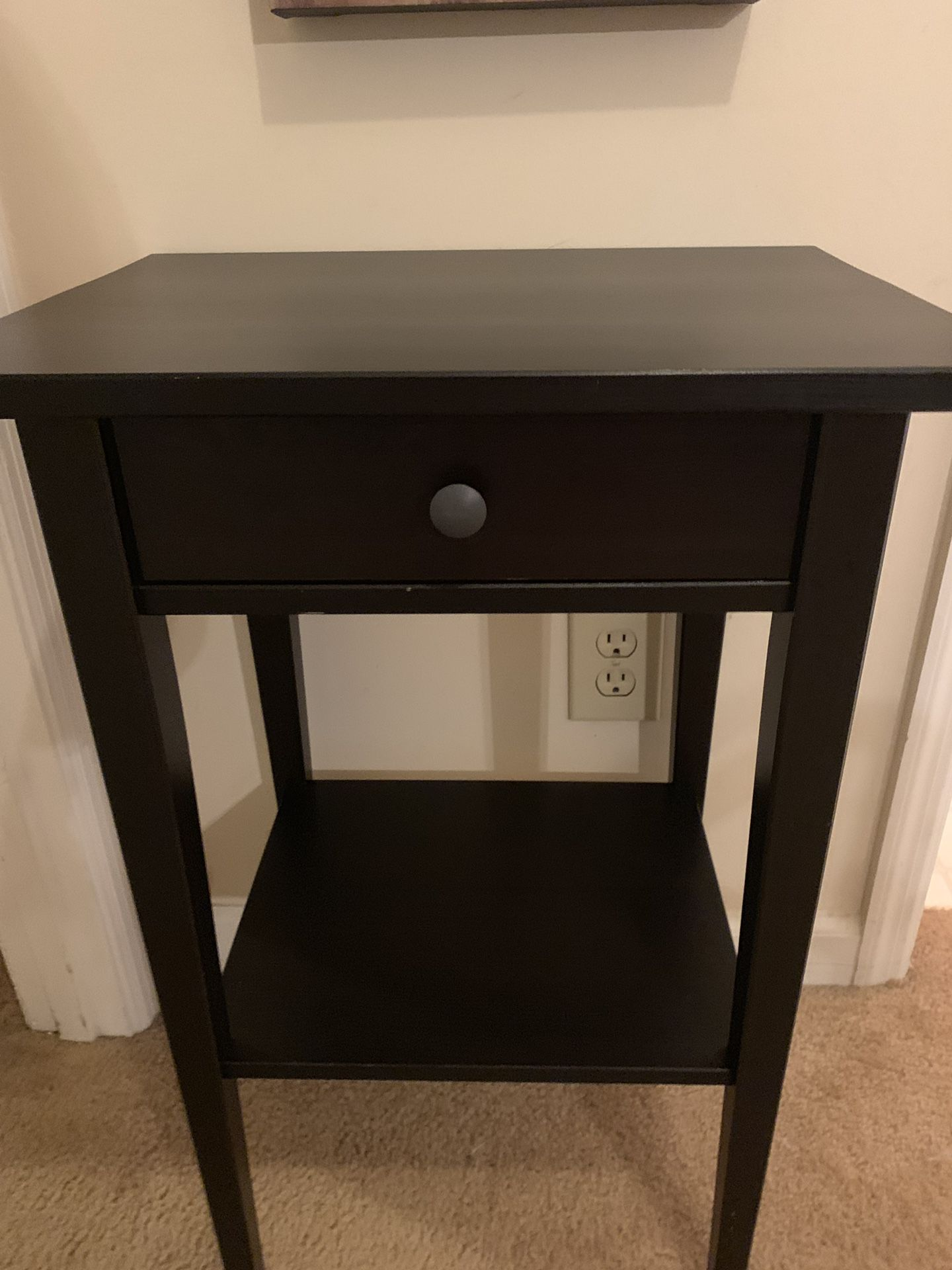 Two dark brown black IKEA nightstands/ side tables with drawers