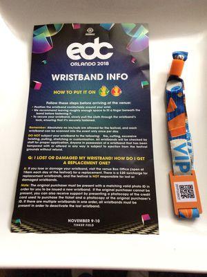 EDC 2 day VIP wristband for Sale in Orlando, FL